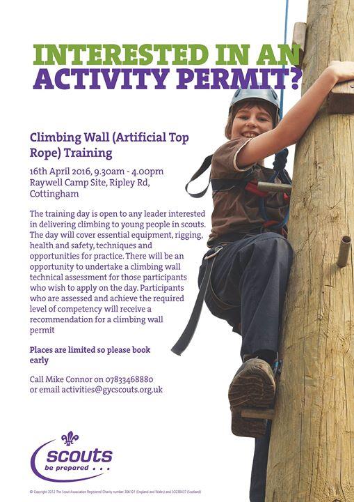 Climbing Wall Training - Climbing Wall (Artificial Top Rope) Training 16th April...