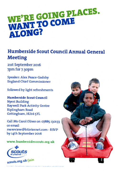 Humberside County AGM - The County AGM is on Wednesday 21st September 2016, star...